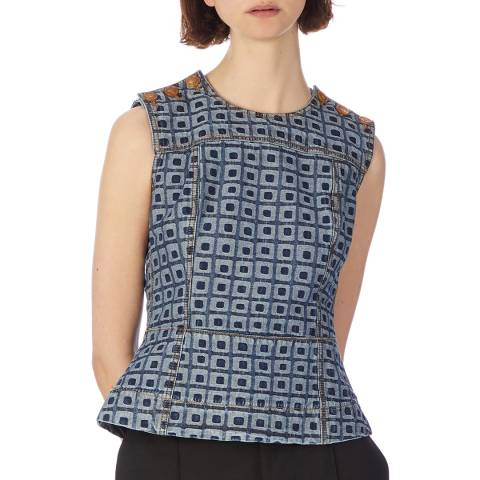 Marni Printed Denim Peplum Top