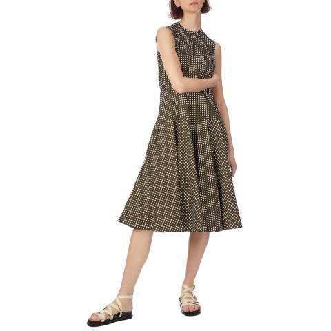 Marni Dark Olive Square Print Cotton Dress