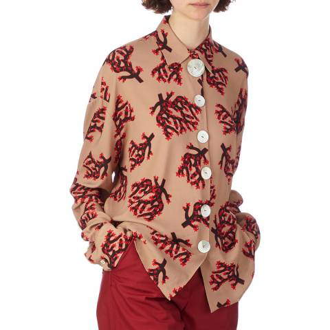 Marni Beige/Red Tree Print Shirt