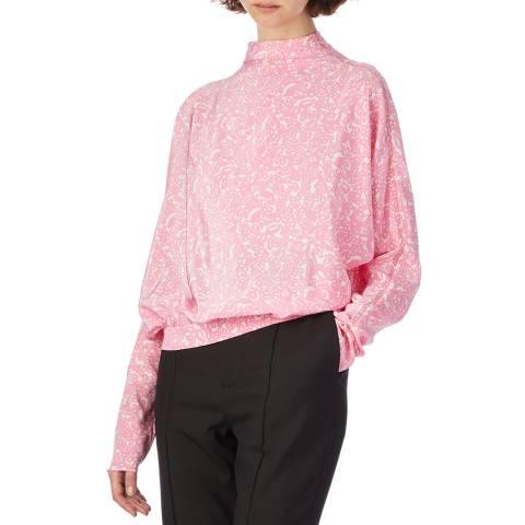 Marni Pink Floral Print Silk Blouse