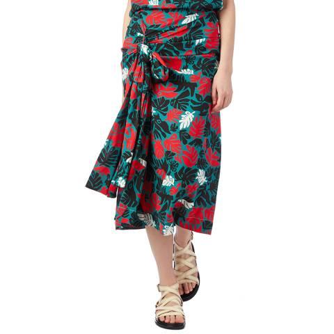 Marni Green/Red Leaves Print Skirt