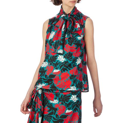 Marni Green/Red Leaves Print Top