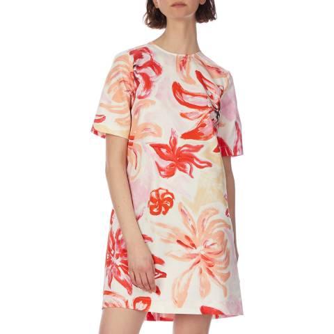 Marni Pink Floral Print Cotton/Silk Dress