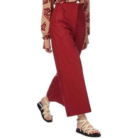 Marni Red Wide Leg Split Hem Trouser