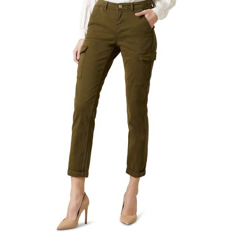 7 For All Mankind Khaki Brushed Twill Cargo Stretch Chinos