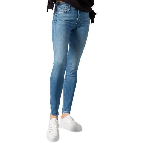 7 For All Mankind Blue Denim Skinny Slim Illusion Stretch Jeans