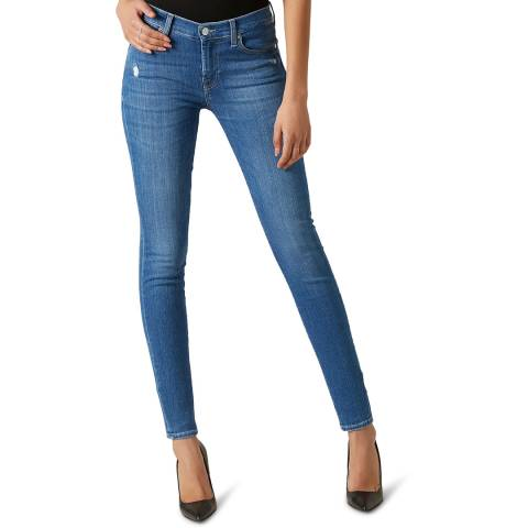 7 For All Mankind Blue Skinny Slim Illusion Stretch Jeans