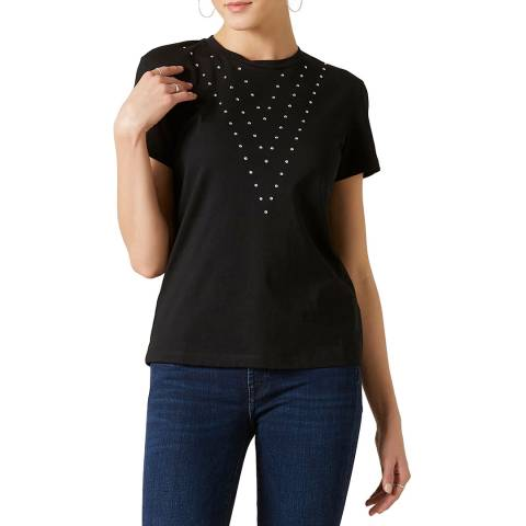 7 For All Mankind Black Studded T-Shirt