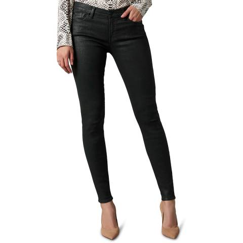 7 For All Mankind Green The Skinny Coated Slim Illusion Stretch Jeans