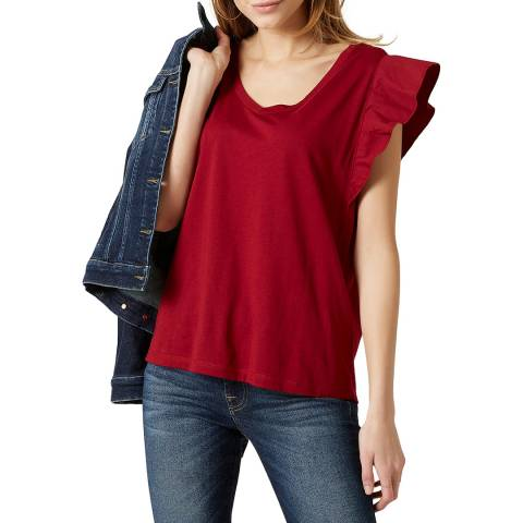 7 For All Mankind Red Ruffle T-Shirt