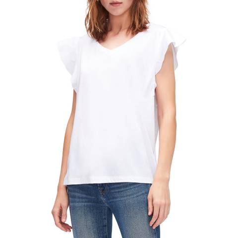 7 For All Mankind White Ruffle T-Shirt