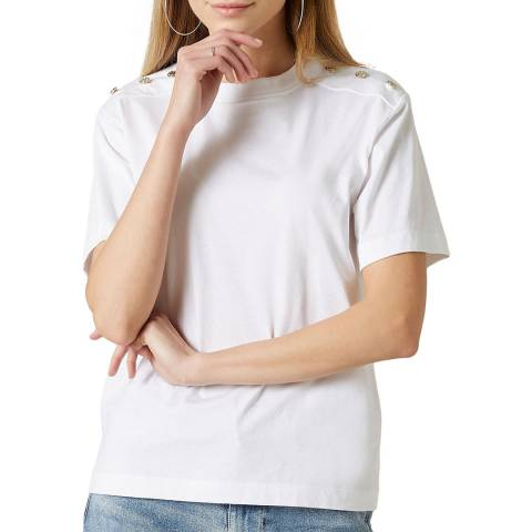 7 For All Mankind White Buttoned T-Shirt