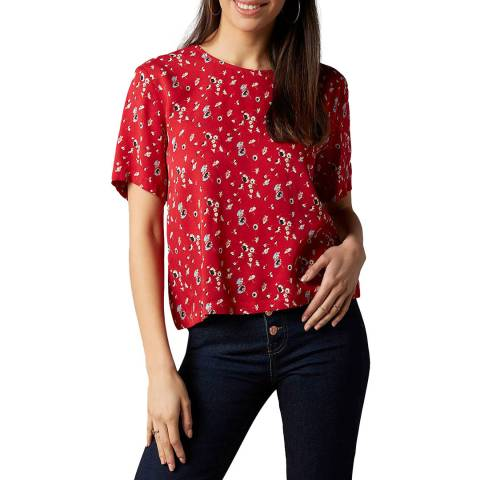 7 For All Mankind Red Ditsy T-Shirt