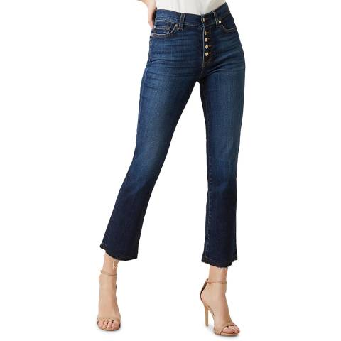 7 For All Mankind Blue The Straight Crop Button Stretch Jeans