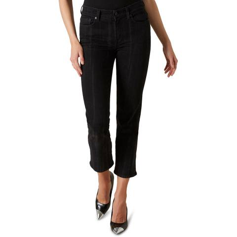 7 For All Mankind Black The Straight Crop Stretch Jeans