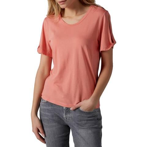7 For All Mankind Coral Shoulder Split T-Shirt