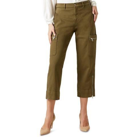 7 For All Mankind Khaki Biker Cargo Zip Stretch Trousers