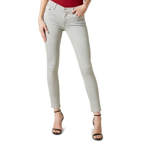 7 For All Mankind Light Grey The Skinny Crop Illusuion Stretch Jeans