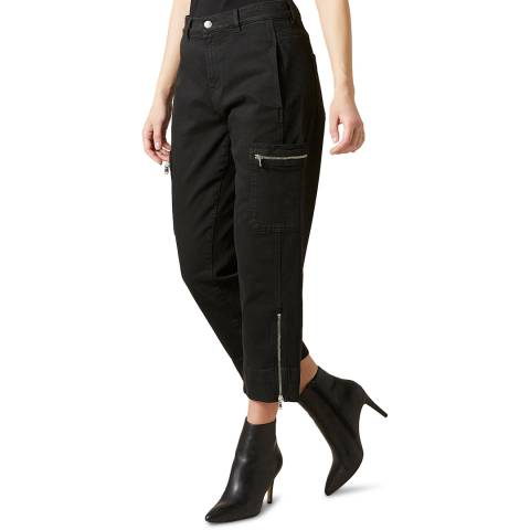 7 For All Mankind Black Biker Cargo Zip Stretch Trousers