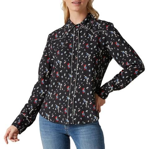 7 For All Mankind Black Ditsy Shirt