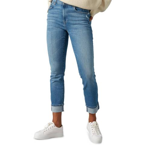 7 For All Mankind Blue Illusion Relaxed Skinny Stretch Jeans