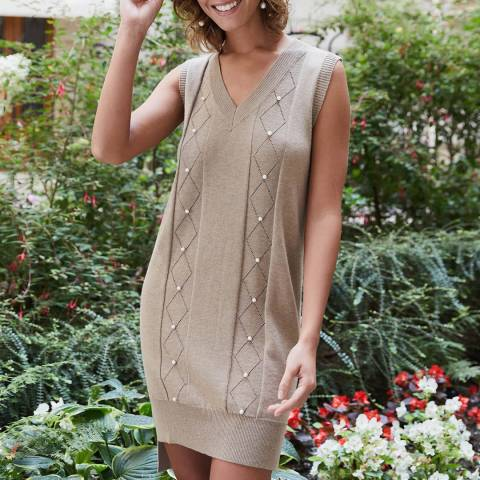 Rodier Camel V Neck Mini Dress