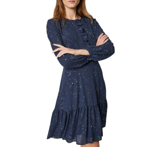 Great Plains Navy Mira Foil Ruffle Dress