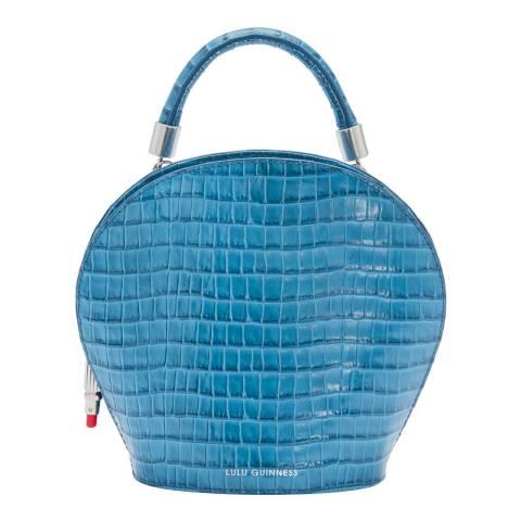 Lulu Guinness Sailor Blue Small Croc Willow Handbag