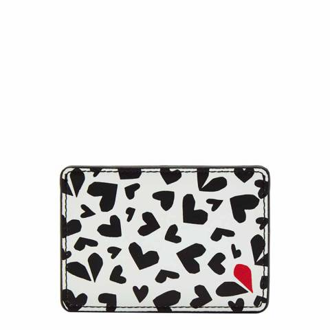 Lulu Guinness Pale Grey Cut Out Hearts Cardholder