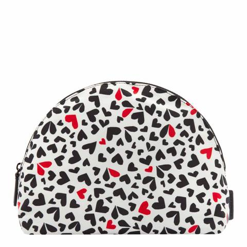 Lulu Guinness Pale Grey Large Cut Out Hearts Crescent Pouch