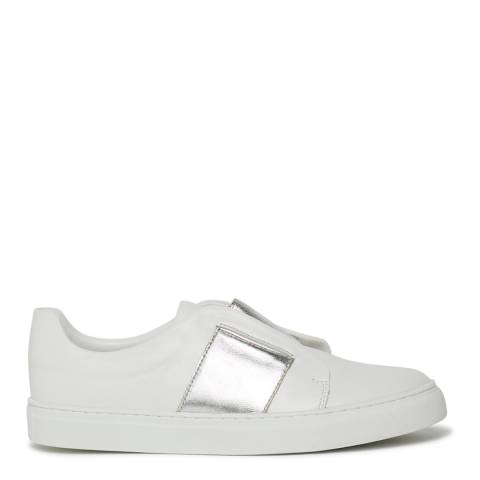 Philip Hog White/Silver Elastic Leather Sneakers