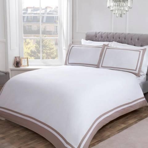 Sleepdown Contrast Border Super King Duvet Cover Set, White/Mink