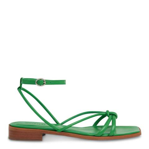 WHISTLES Green Roya Flat Strappy Leather Sandals