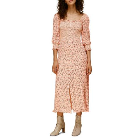 WHISTLES Peach Flower Berry Print Silk Dress