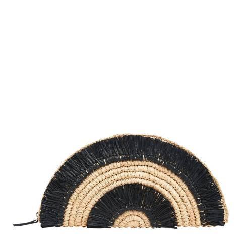 WHISTLES Black/Neutral Santino Straw Clutch Bag