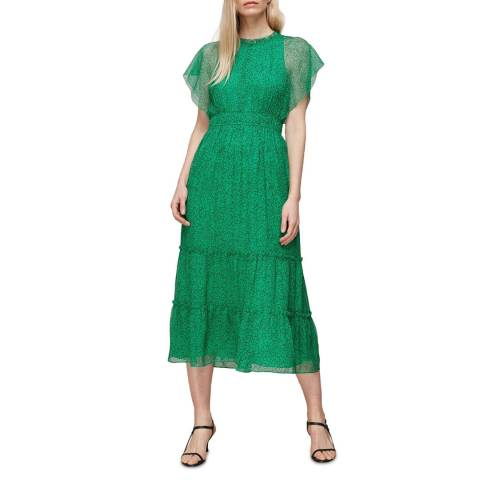 WHISTLES Green Sketched Floral Frill Dress