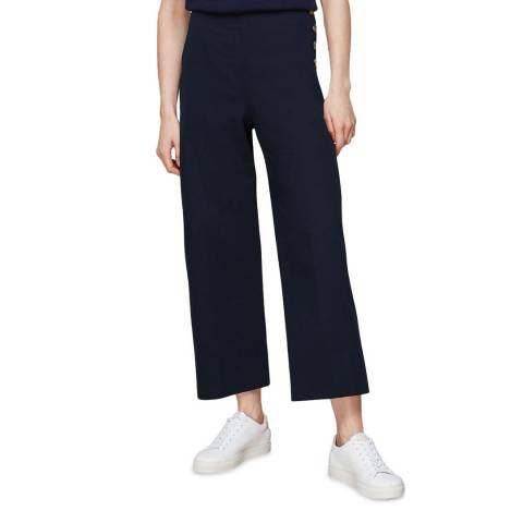 WHISTLES Navy Cadie Wide Cotton Stretch Trousers
