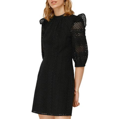 WHISTLES Black Frill Broderie Cotton Dress