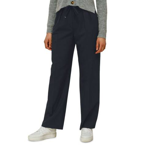 WHISTLES Navy Tapered Wool Blend Trousers