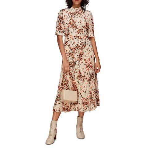 WHISTLES Multi Mottled Animal Pleated Dress