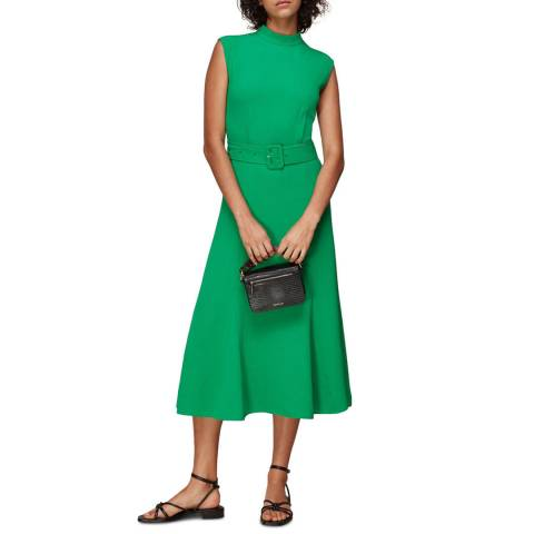 WHISTLES Green Penny Belted Dress