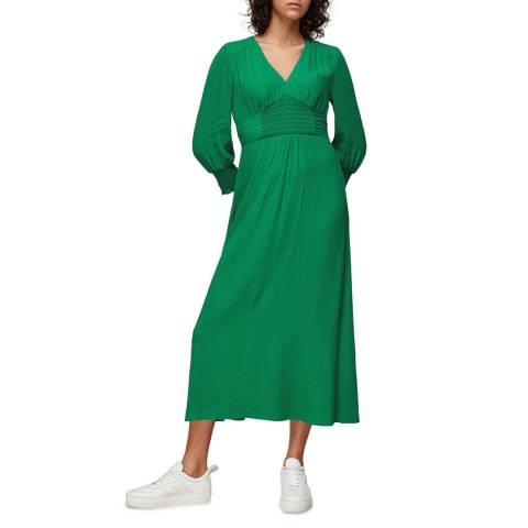 WHISTLES Green Zenna Shirred Waist Dress