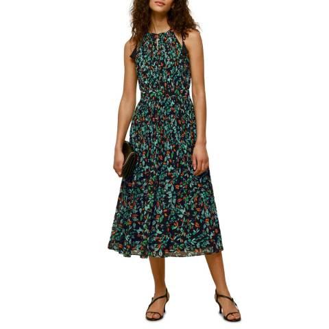 WHISTLES Multi Forest Floral Halter Dress