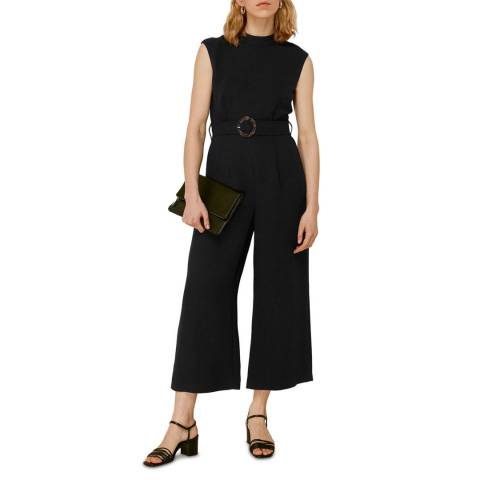 WHISTLES Black Penny Belted Jumpsuit