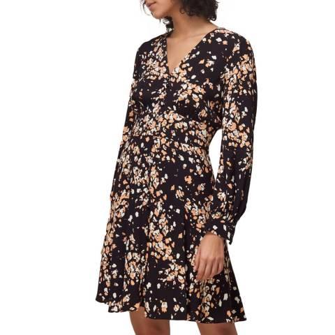 WHISTLES Multi Mottled Animal Button Dress