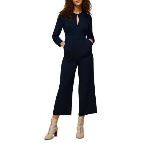 WHISTLES Navy Petra Crepe Jumpsuit