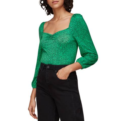 WHISTLES Green Floral Sweetheart Top