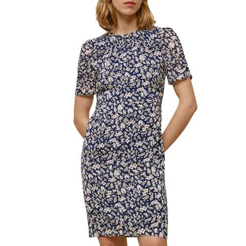 WHISTLES Navy Wheat Floral Silk Stretch Dress