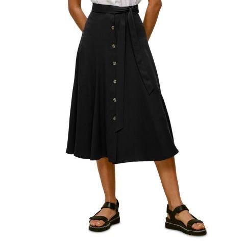 WHISTLES Black Marissa Button Through Skirt
