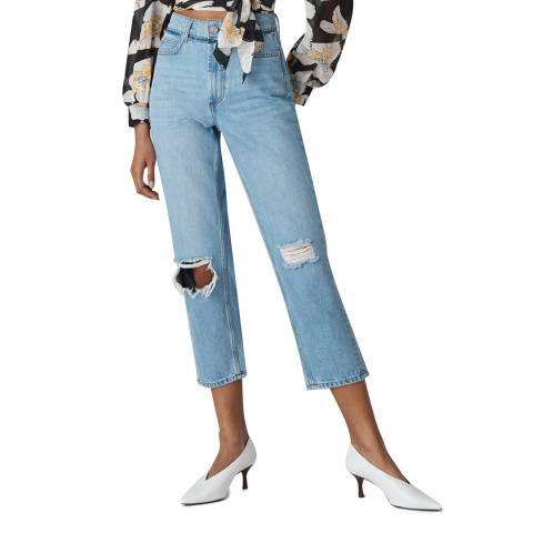 WHISTLES Blue Hollie Straight Cotton Jeans